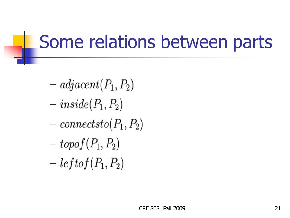CSE 803 Fall 200921 Some relations between parts