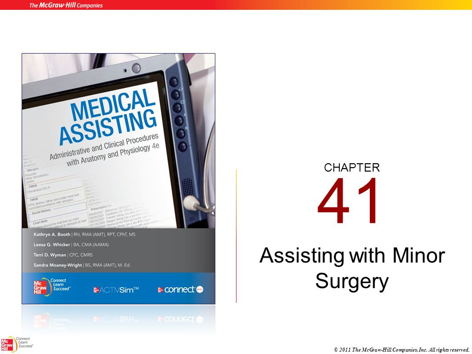 CHAPTER © 2011 The McGraw-Hill Companies, Inc. All rights reserved. 41 Assisting with Minor Surgery