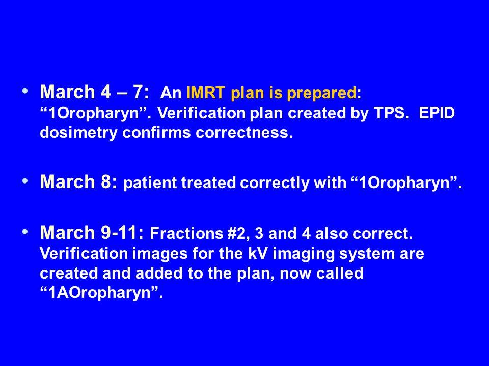 March 4 – 7: An IMRT plan is prepared: 1Oropharyn .