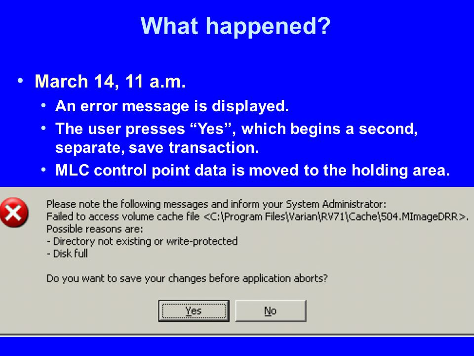 What happened. March 14, 11 a.m. An error message is displayed.