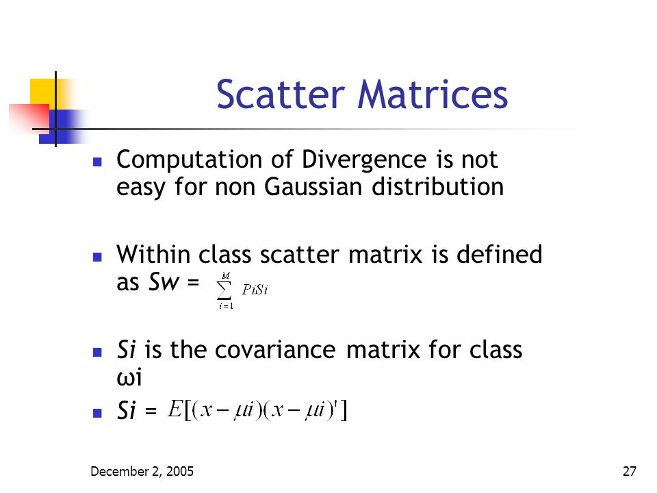 December 2, 200528 Scatter Matrices Between class scatter matrix is defined as S b = Where μ 0 =