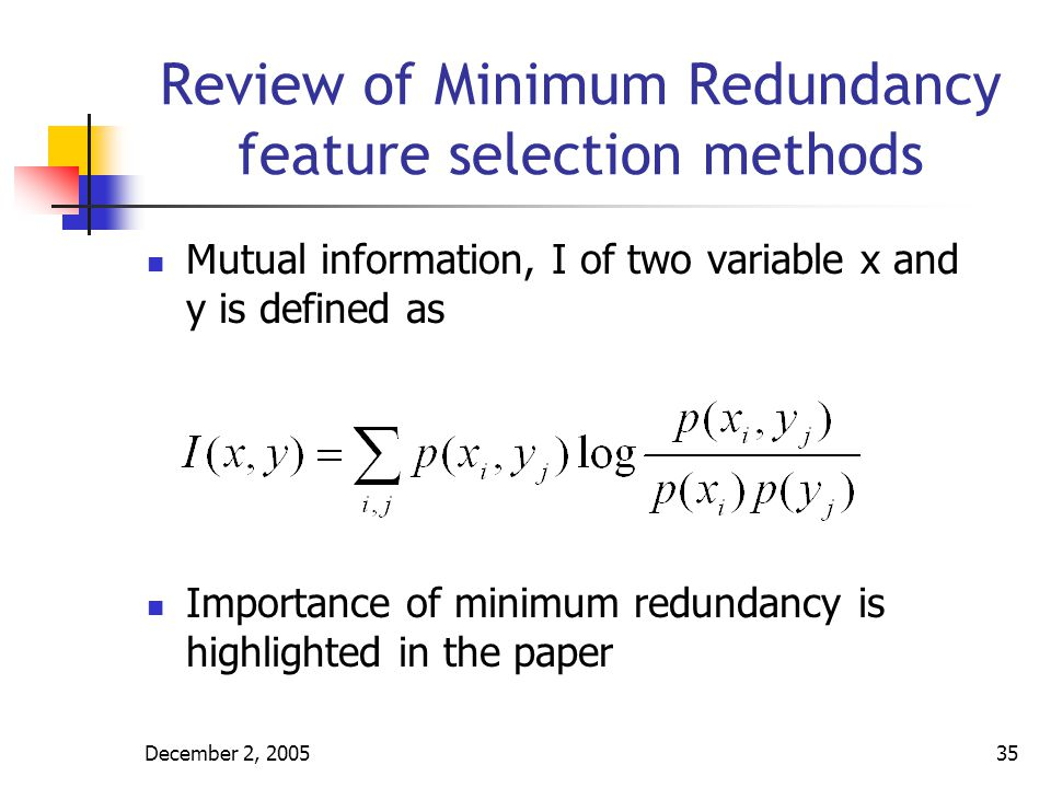 December 2, 200536 Review of Minimum Redundancy feature selection methods In Yu and Liu (2004) Filter method is used Algorithm is: Relevance analysis 1 Order features based on decreasing ISU values Redundancy analysis 2 Initialize Fi with the first feature in the list 3 Find and remove all features for which Fi forms an approximate redundant cover 4 Set Fi as the next remaining feature in the list and repeat step 3 until the end of the list
