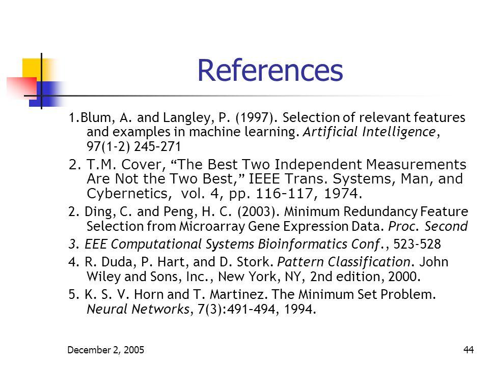 December 2, 200545 References 6.Duin R. P. W. Jain, A.