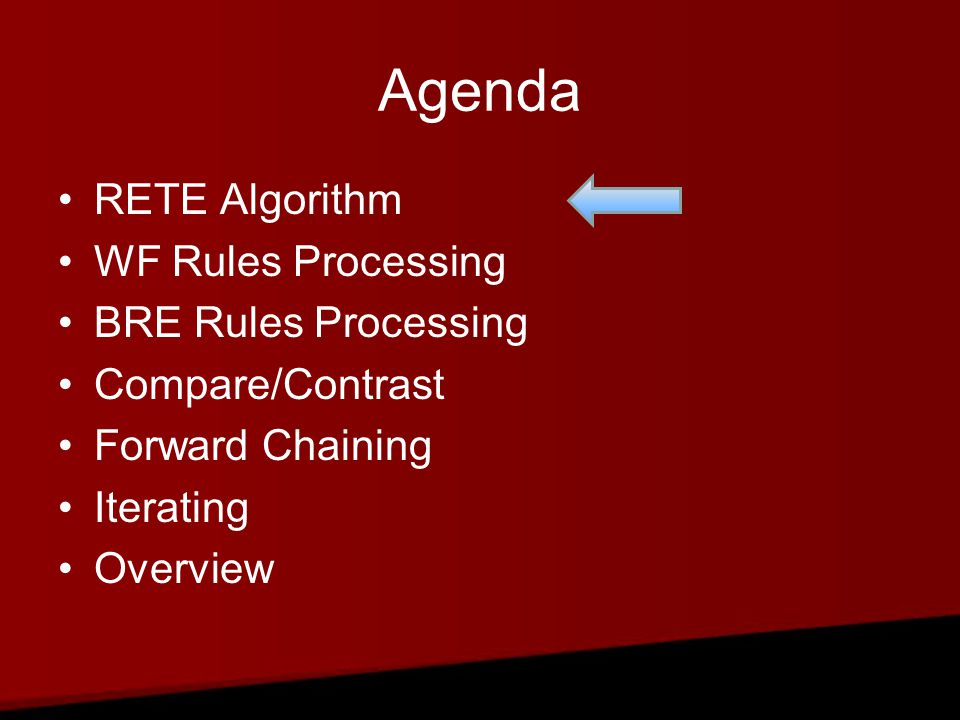 Agenda RETE Algorithm WF Rules Processing BRE Rules Processing Compare/Contrast Forward Chaining Iterating Overview