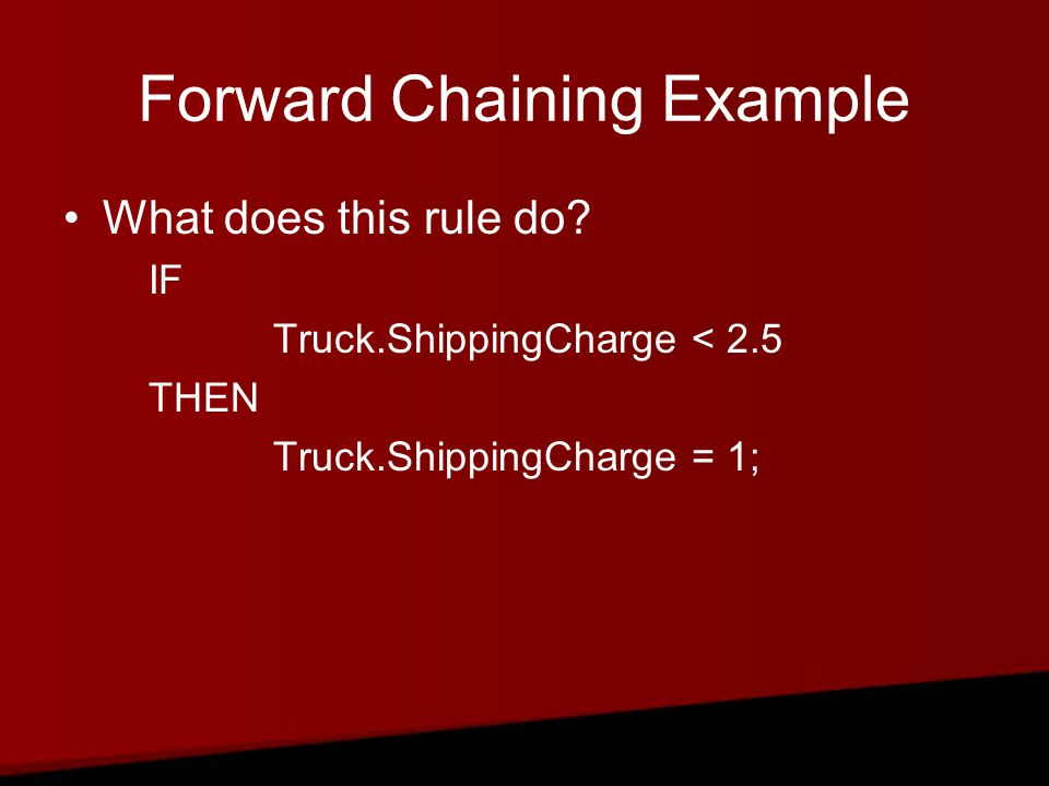 Forward Chaining Example What does this rule do.