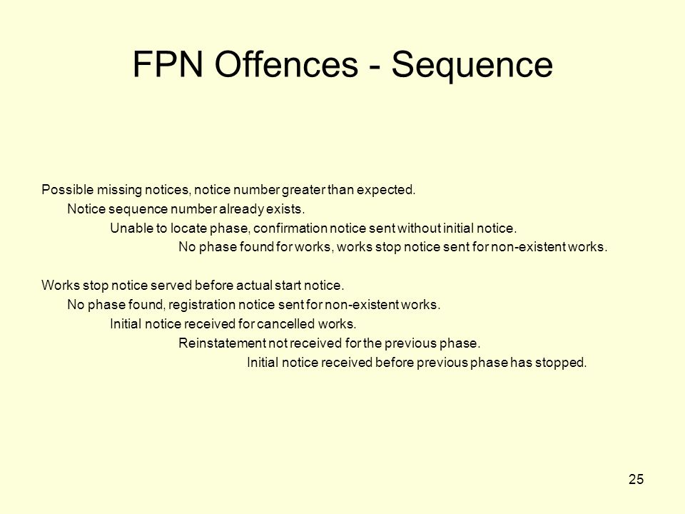 25 FPN Offences - Sequence Possible missing notices, notice number greater than expected. Notice sequence number already exists. Unable to locate phas