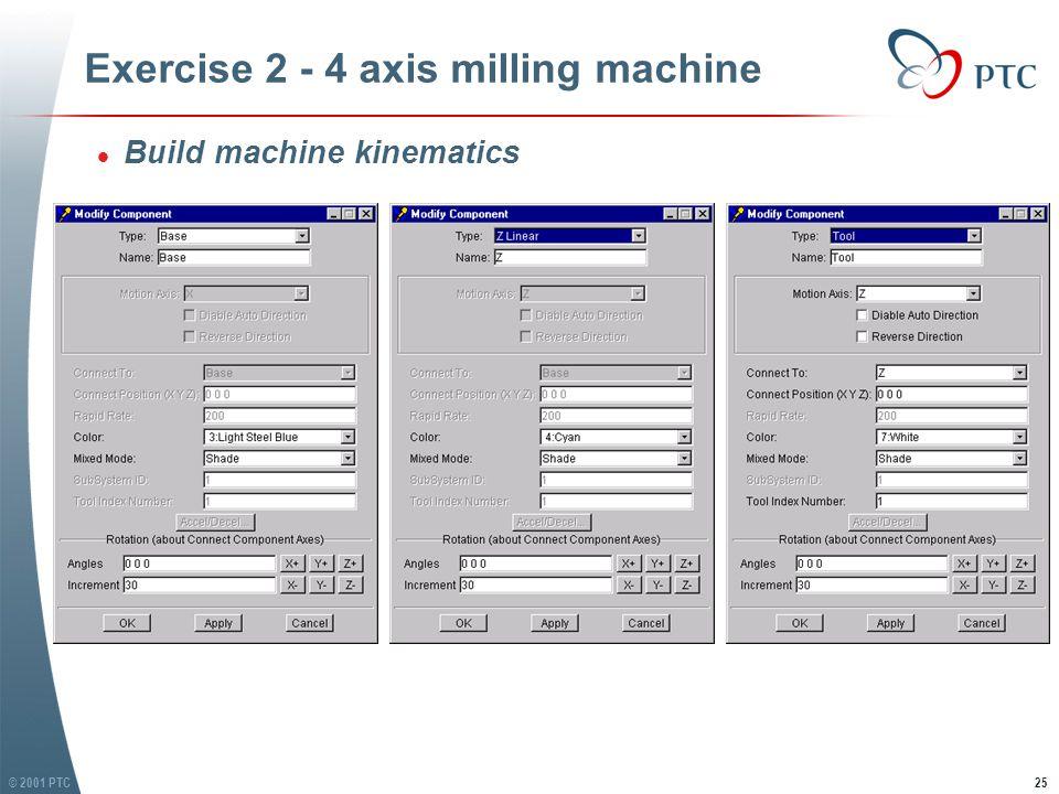 © 2001 PTC25 Exercise 2 - 4 axis milling machine l Build machine kinematics