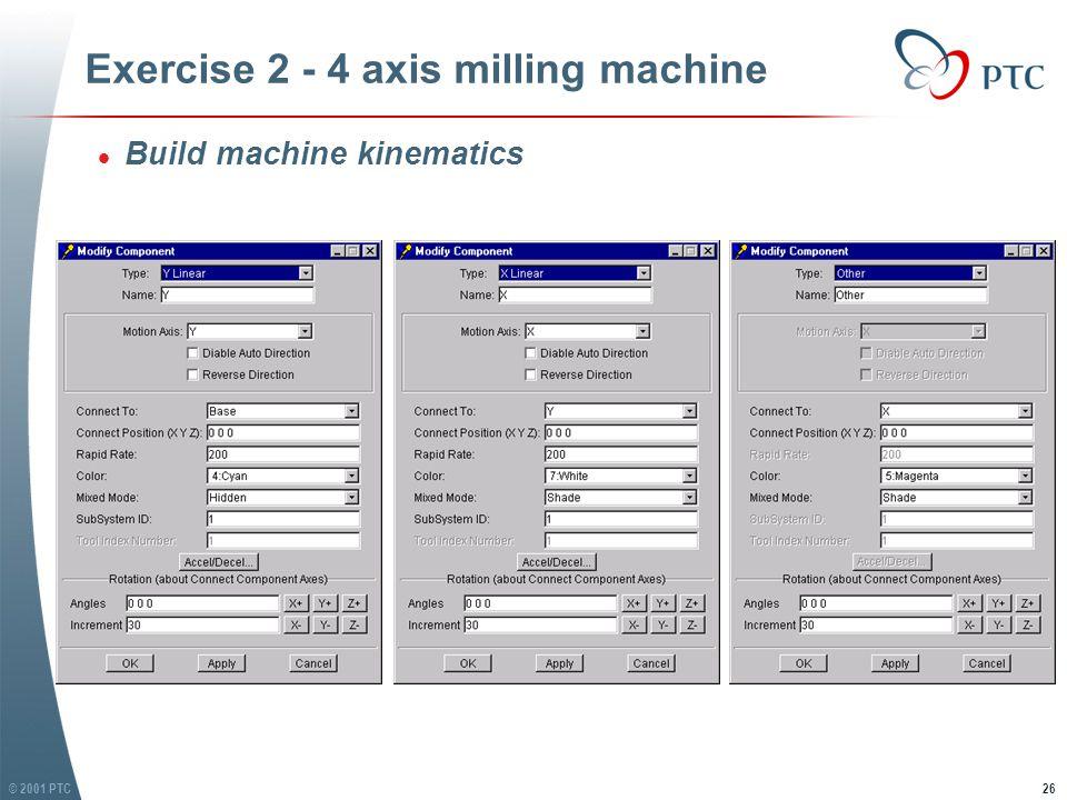 © 2001 PTC27 Exercise 2 - 4 axis milling machine l Build machine kinematics