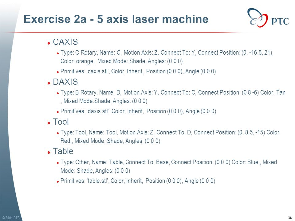 © 2001 PTC36 Exercise 2a - 5 axis laser machine l CAXIS l Type: C Rotary, Name: C, Motion Axis: Z, Connect To: Y, Connect Position: (0, -16.5, 21) Color: orange, Mixed Mode: Shade, Angles: (0 0 0) l Primitives: 'caxis.stl', Color, Inherit, Position (0 0 0), Angle (0 0 0) l DAXIS l Type: B Rotary, Name: D, Motion Axis: Y, Connect To: C, Connect Position: (0 8 -6) Color: Tan, Mixed Mode:Shade, Angles: (0 0 0) l Primitives: 'daxis.stl', Color, Inherit, Position (0 0 0), Angle (0 0 0) l Tool l Type: Tool, Name: Tool, Motion Axis: Z, Connect To: D, Connect Position: (0, 8.5, -15) Color: Red, Mixed Mode: Shade, Angles: (0 0 0) l Table l Type: Other, Name: Table, Connect To: Base, Connect Position: (0 0 0) Color: Blue, Mixed Mode: Shade, Angles: (0 0 0) l Primitives: 'table.stl', Color, Inherit, Position (0 0 0), Angle (0 0 0) l CAXIS l Type: C Rotary, Name: C, Motion Axis: Z, Connect To: Y, Connect Position: (0, -16.5, 21) Color: orange, Mixed Mode: Shade, Angles: (0 0 0) l Primitives: 'caxis.stl', Color, Inherit, Position (0 0 0), Angle (0 0 0) l DAXIS l Type: B Rotary, Name: D, Motion Axis: Y, Connect To: C, Connect Position: (0 8 -6) Color: Tan, Mixed Mode:Shade, Angles: (0 0 0) l Primitives: 'daxis.stl', Color, Inherit, Position (0 0 0), Angle (0 0 0) l Tool l Type: Tool, Name: Tool, Motion Axis: Z, Connect To: D, Connect Position: (0, 8.5, -15) Color: Red, Mixed Mode: Shade, Angles: (0 0 0) l Table l Type: Other, Name: Table, Connect To: Base, Connect Position: (0 0 0) Color: Blue, Mixed Mode: Shade, Angles: (0 0 0) l Primitives: 'table.stl', Color, Inherit, Position (0 0 0), Angle (0 0 0)