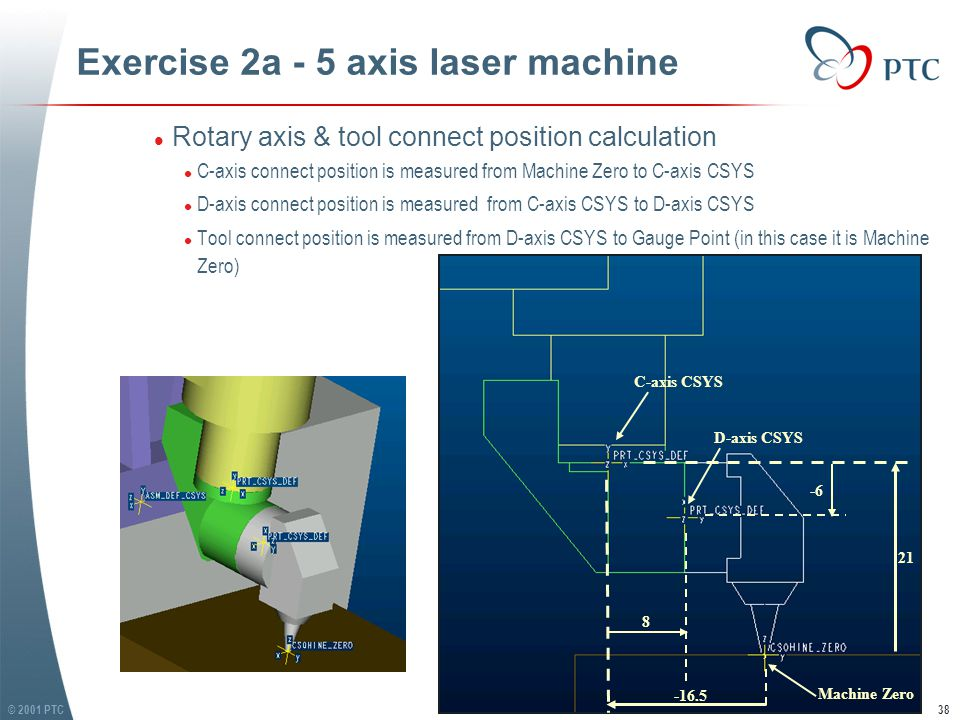 © 2001 PTC38 Exercise 2a - 5 axis laser machine l Rotary axis & tool connect position calculation l C-axis connect position is measured from Machine Zero to C-axis CSYS l D-axis connect position is measured from C-axis CSYS to D-axis CSYS l Tool connect position is measured from D-axis CSYS to Gauge Point (in this case it is Machine Zero) l Rotary axis & tool connect position calculation l C-axis connect position is measured from Machine Zero to C-axis CSYS l D-axis connect position is measured from C-axis CSYS to D-axis CSYS l Tool connect position is measured from D-axis CSYS to Gauge Point (in this case it is Machine Zero) Machine Zero -16.5 21 8 -6 C-axis CSYS D-axis CSYS