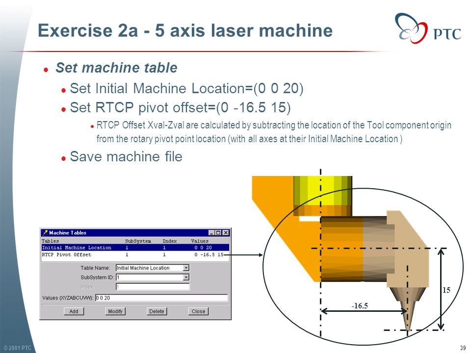 © 2001 PTC39 Exercise 2a - 5 axis laser machine l Set machine table l Set Initial Machine Location=(0 0 20) l Set RTCP pivot offset=(0 -16.5 15) l RTCP Offset Xval-Zval are calculated by subtracting the location of the Tool component origin from the rotary pivot point location (with all axes at their Initial Machine Location ) l Save machine file l Set machine table l Set Initial Machine Location=(0 0 20) l Set RTCP pivot offset=(0 -16.5 15) l RTCP Offset Xval-Zval are calculated by subtracting the location of the Tool component origin from the rotary pivot point location (with all axes at their Initial Machine Location ) l Save machine file -16.5 15