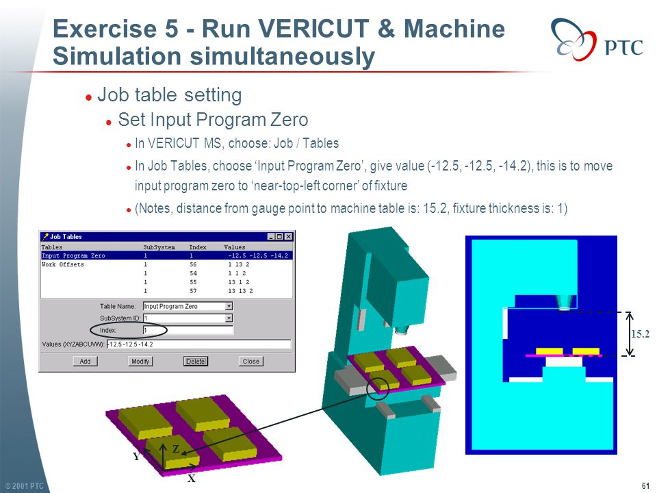 © 2001 PTC62 Exercise 5 - Run VERICUT & Machine Simulation simultaneously l Set work offset (fixture offset) l Refer Job Table figure on last slide, and VERICUT exercise 6 (sub.usr) for details l (Notes: Stock thickness is 2) l Job setting l Choose: Job / Settings l Select tool path file 'sub.tap' in exercise 5 folder l Give Log file name: '3ax-mill.log', save it in exercise 5 folder l Other settings: Programming method, Tool Tip.