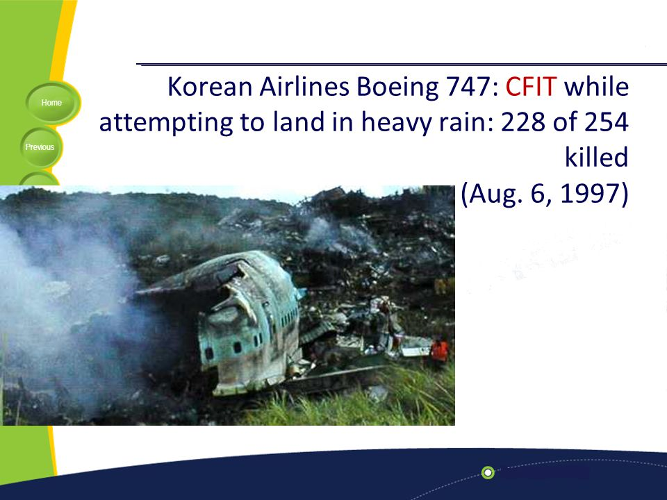 Home Previous Next Help Korean Airlines Boeing 747: CFIT while attempting to land in heavy rain: 228 of 254 killed (Aug. 6, 1997)