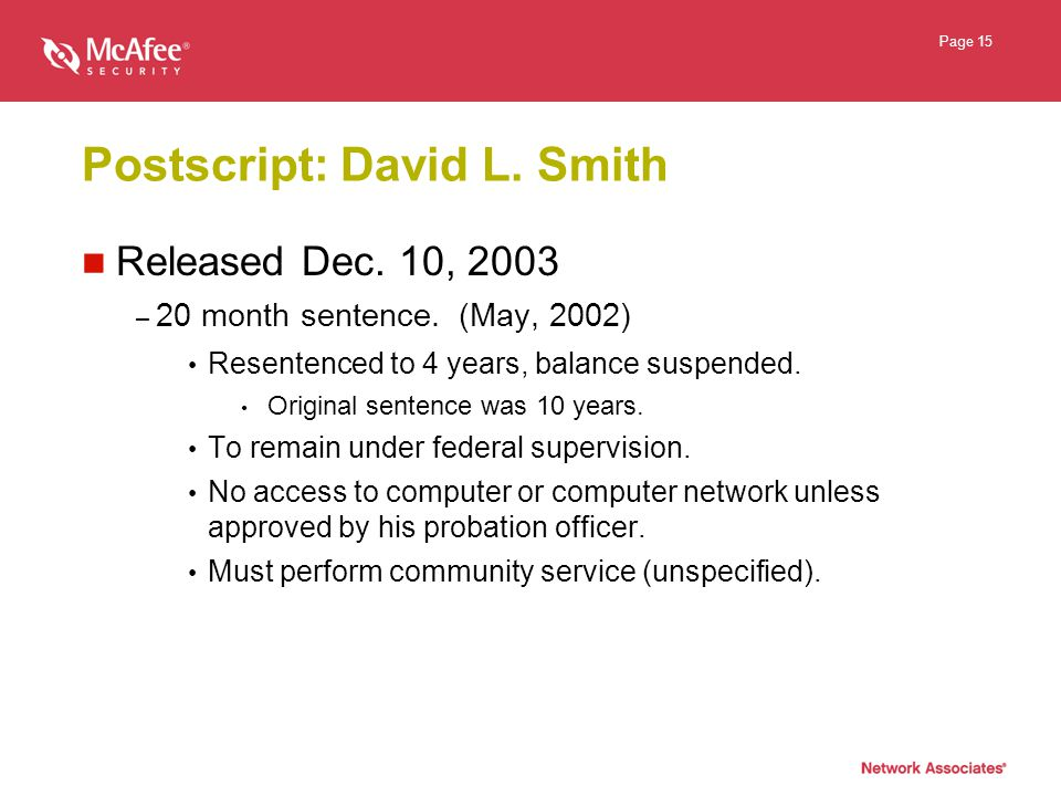 Page 15 Postscript: David L. Smith Released Dec. 10, 2003 – 20 month sentence.