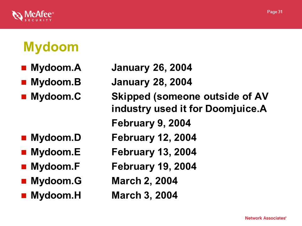 Page 31 Mydoom Mydoom.AJanuary 26, 2004 Mydoom.BJanuary 28, 2004 Mydoom.CSkipped (someone outside of AV industry used it for Doomjuice.A February 9, 2004 Mydoom.DFebruary 12, 2004 Mydoom.EFebruary 13, 2004 Mydoom.FFebruary 19, 2004 Mydoom.GMarch 2, 2004 Mydoom.HMarch 3, 2004