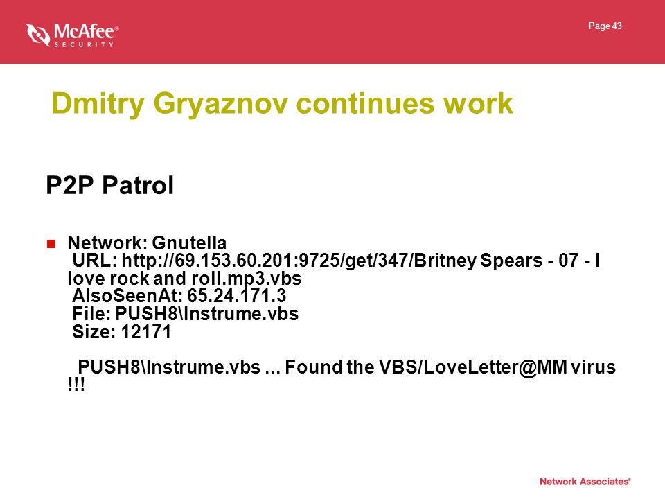 Page 43 Dmitry Gryaznov continues work P2P Patrol Network: Gnutella URL: http://69.153.60.201:9725/get/347/Britney Spears - 07 - I love rock and roll.mp3.vbs AlsoSeenAt: 65.24.171.3 File: PUSH8\Instrume.vbs Size: 12171 PUSH8\Instrume.vbs...