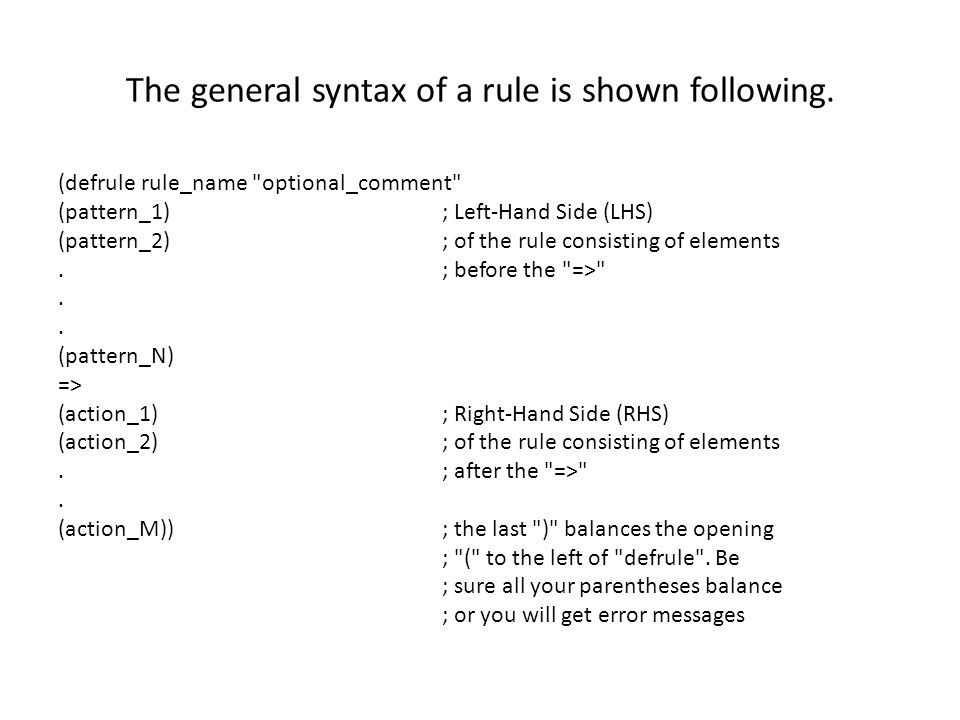 The general syntax of a rule is shown following.