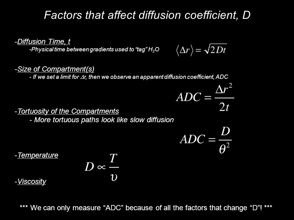Factors that affect diffusion coefficient, D -Diffusion Time, t -Physical time between gradients used to tag H 2 O -Size of Compartment(s) - If we set a limit for  r, then we observe an apparent diffusion coefficient, ADC -Tortuosity of the Compartments - More tortuous paths look like slow diffusion -Temperature -Viscosity *** We can only measure ADC because of all the factors that change D .
