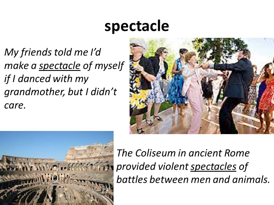 spectacle The Coliseum in ancient Rome provided violent spectacles of battles between men and animals.
