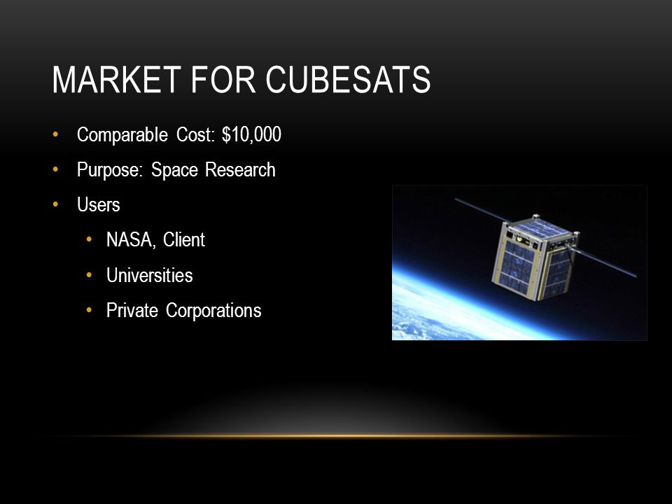 MARKET FOR CUBESATS Comparable Cost: $10,000 Purpose: Space Research Users NASA, Client Universities Private Corporations