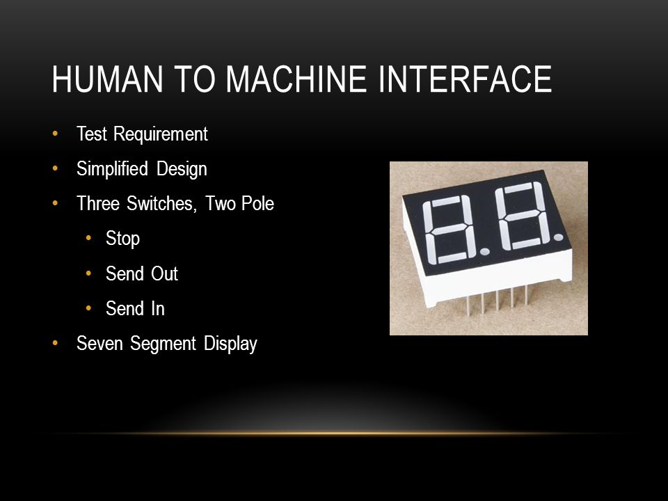 HUMAN TO MACHINE INTERFACE Test Requirement Simplified Design Three Switches, Two Pole Stop Send Out Send In Seven Segment Display