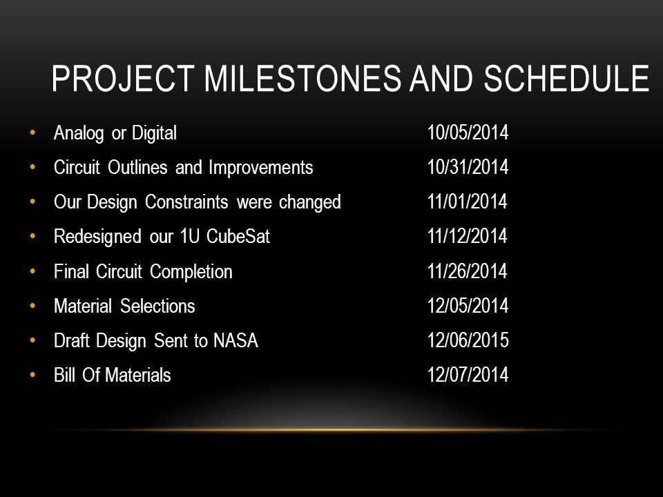 PROJECT MILESTONES AND SCHEDULE Analog or Digital 10/05/2014 Circuit Outlines and Improvements 10/31/2014 Our Design Constraints were changed11/01/2014 Redesigned our 1U CubeSat11/12/2014 Final Circuit Completion11/26/2014 Material Selections12/05/2014 Draft Design Sent to NASA12/06/2015 Bill Of Materials 12/07/2014
