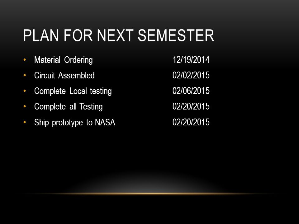 PLAN FOR NEXT SEMESTER Material Ordering12/19/2014 Circuit Assembled02/02/2015 Complete Local testing 02/06/2015 Complete all Testing02/20/2015 Ship prototype to NASA02/20/2015