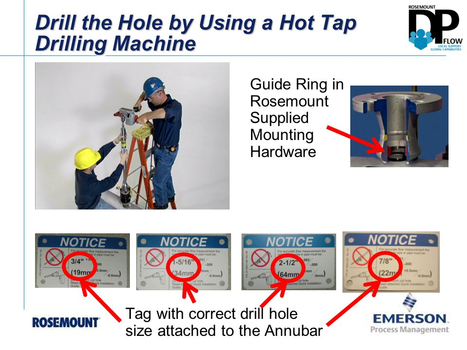 Drill the Hole by Using a Hot Tap Drilling Machine Tag with correct drill hole size attached to the Annubar Guide Ring in Rosemount Supplied Mounting Hardware