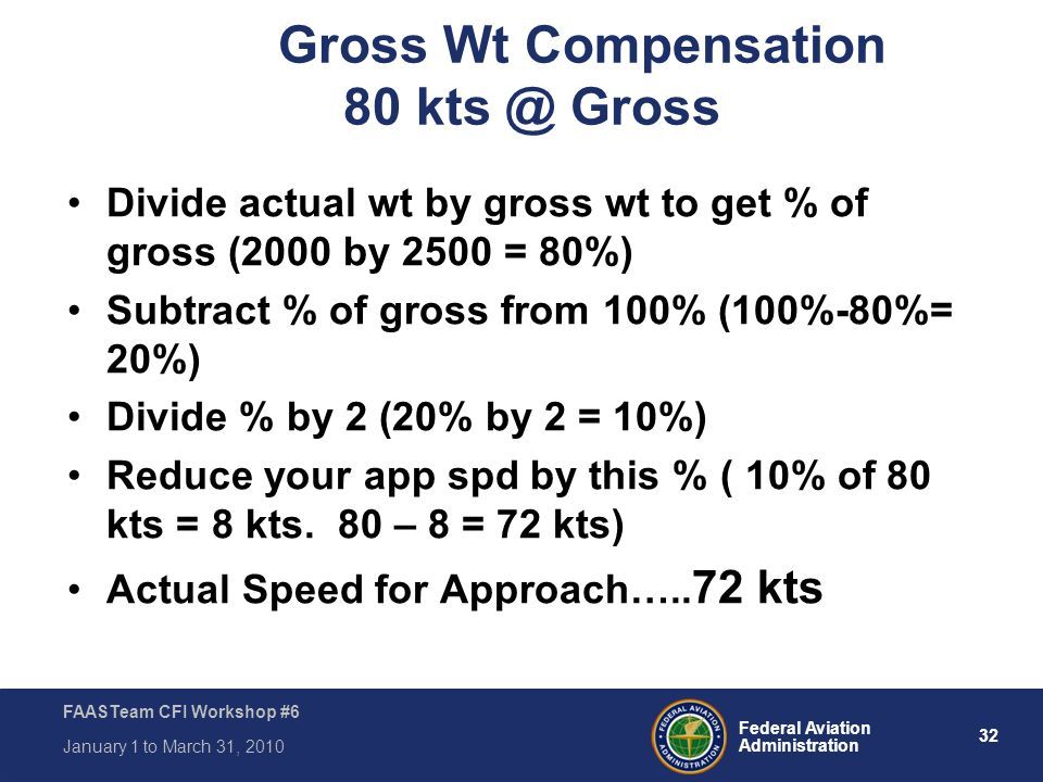 32 Federal Aviation Administration FAASTeam CFI Workshop #6 January 1 to March 31, 2010 Gross Wt Compensation 80 kts @ Gross Divide actual wt by gross