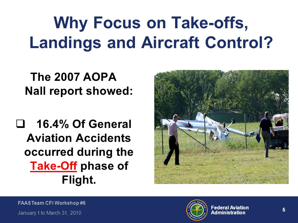 5 Federal Aviation Administration FAASTeam CFI Workshop #6 January 1 to March 31, 2010 The 2007 AOPA Nall report showed:  16.4% Of General Aviation A