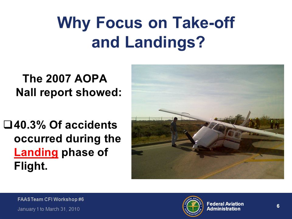 6 Federal Aviation Administration FAASTeam CFI Workshop #6 January 1 to March 31, 2010 Why Focus on Take-off and Landings? The 2007 AOPA Nall report s