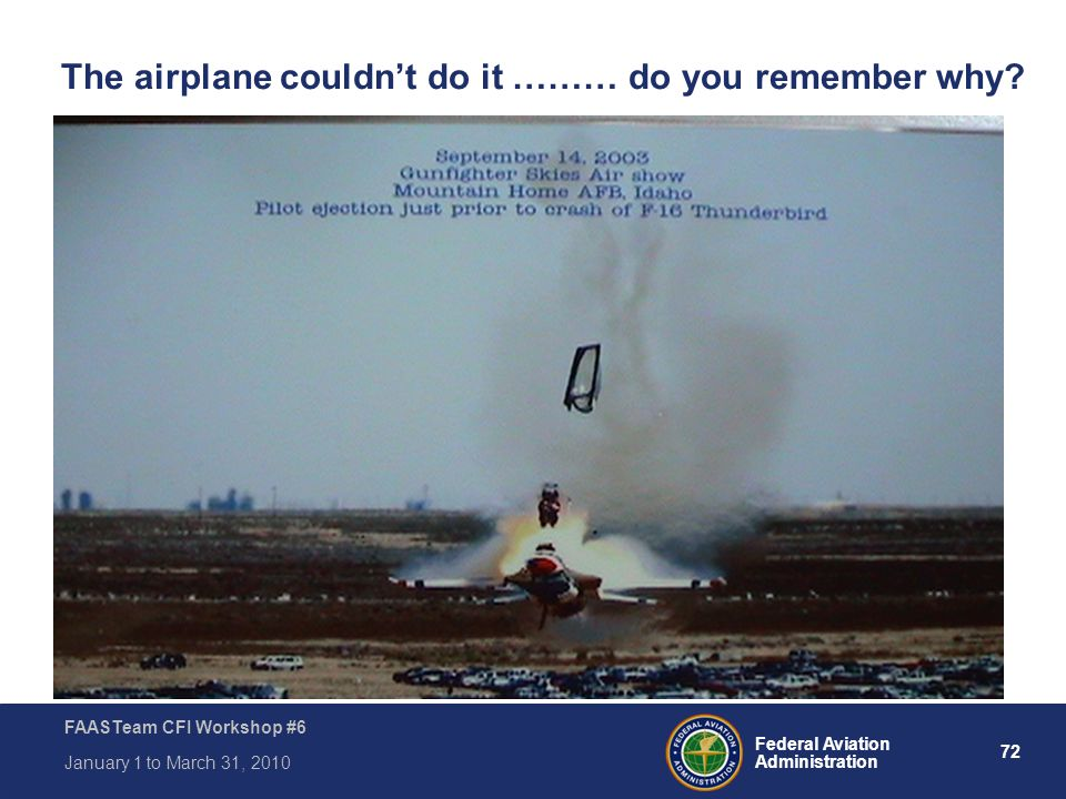 72 Federal Aviation Administration FAASTeam CFI Workshop #6 January 1 to March 31, 2010 The airplane couldn't do it ……… do you remember why?