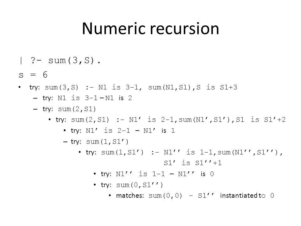 Numeric recursion | - sum(3,S).