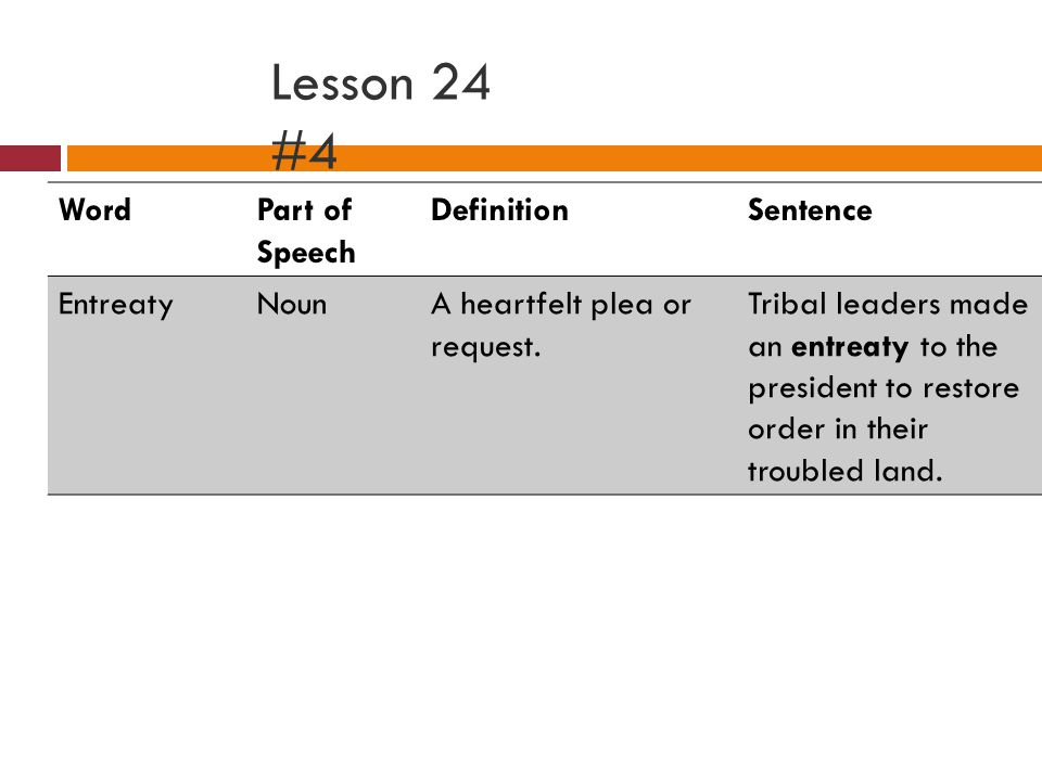 Lesson 24 #4 WordPart of Speech DefinitionSentence EntreatyNounA heartfelt plea or request.