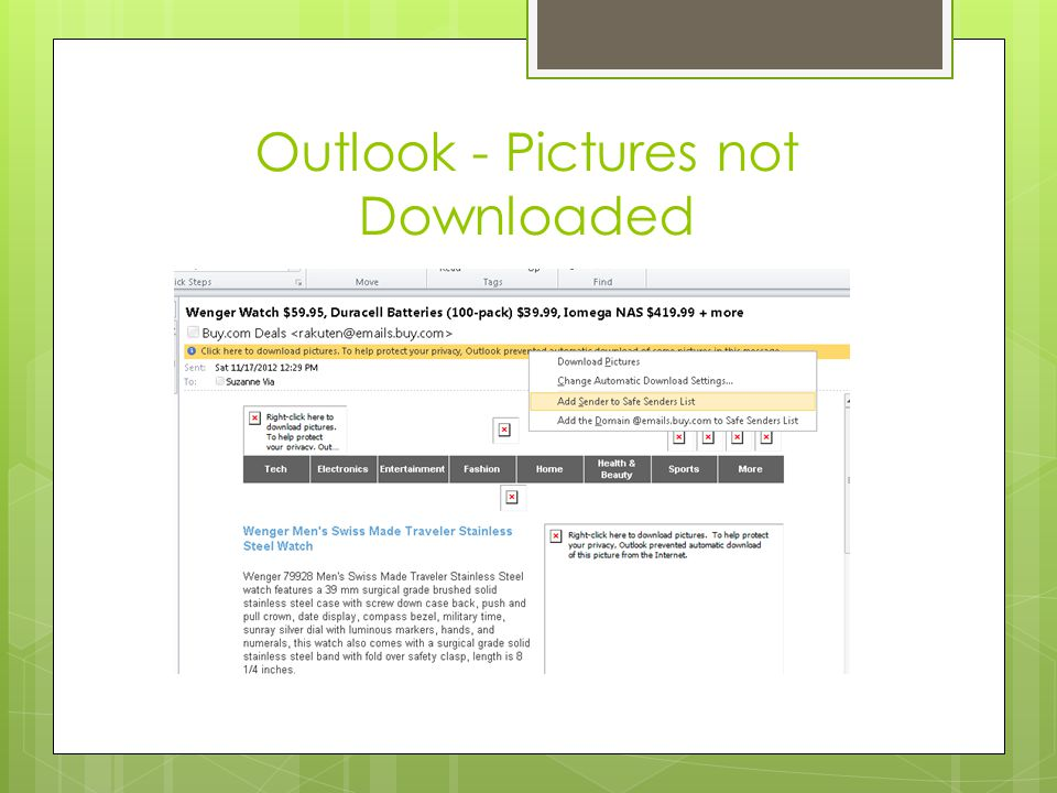 Outlook - Pictures not Downloaded