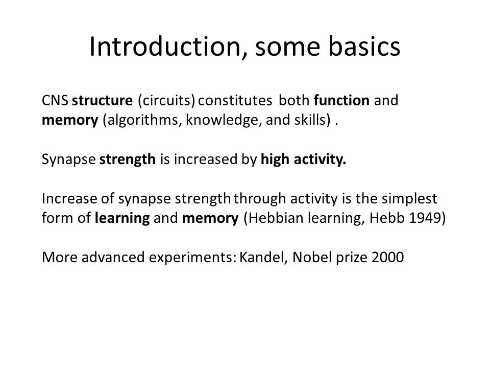 Introduction, some basics CNS structure (circuits) constitutes both function and memory (algorithms, knowledge, and skills).