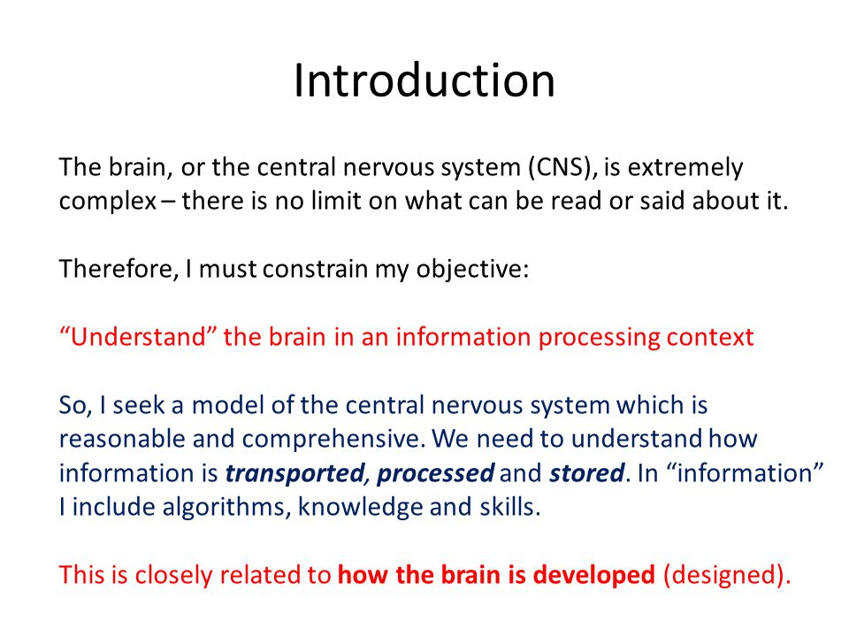 Introduction The brain, or the central nervous system (CNS), is extremely complex – there is no limit on what can be read or said about it.