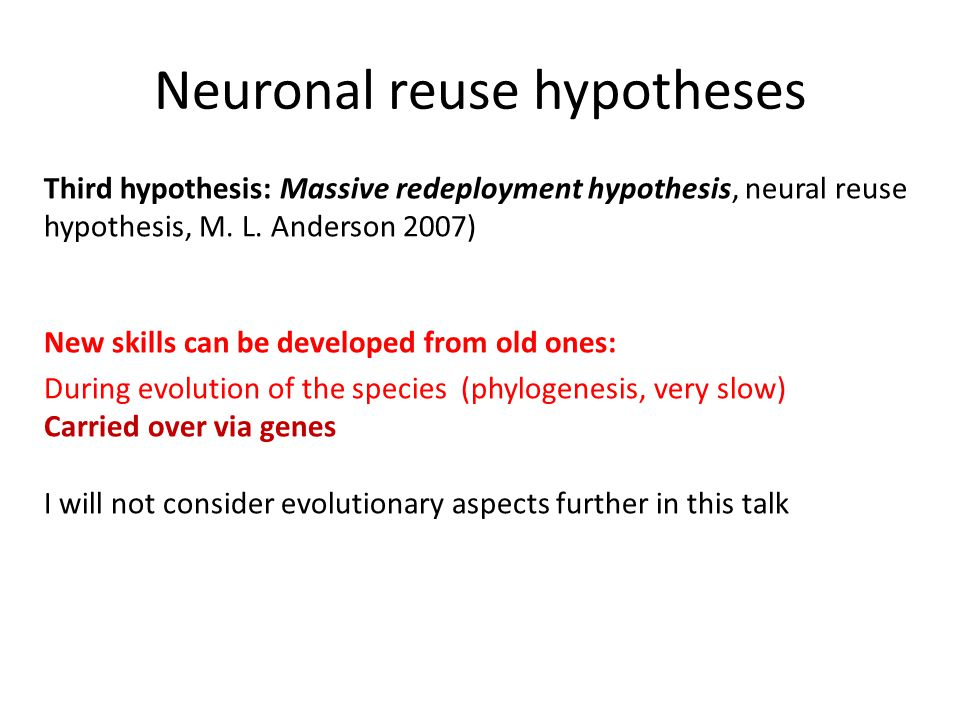 Neuronal reuse hypotheses Third hypothesis: Massive redeployment hypothesis, neural reuse hypothesis, M.