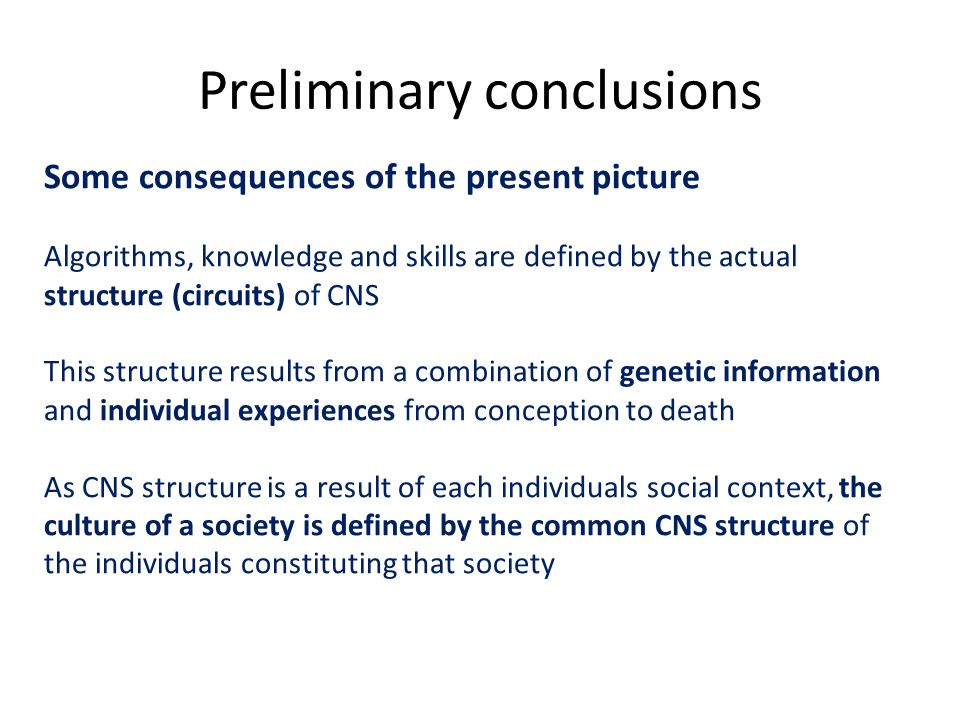 Preliminary conclusions Some consequences of the present picture Algorithms, knowledge and skills are defined by the actual structure (circuits) of CNS This structure results from a combination of genetic information and individual experiences from conception to death As CNS structure is a result of each individuals social context, the culture of a society is defined by the common CNS structure of the individuals constituting that society