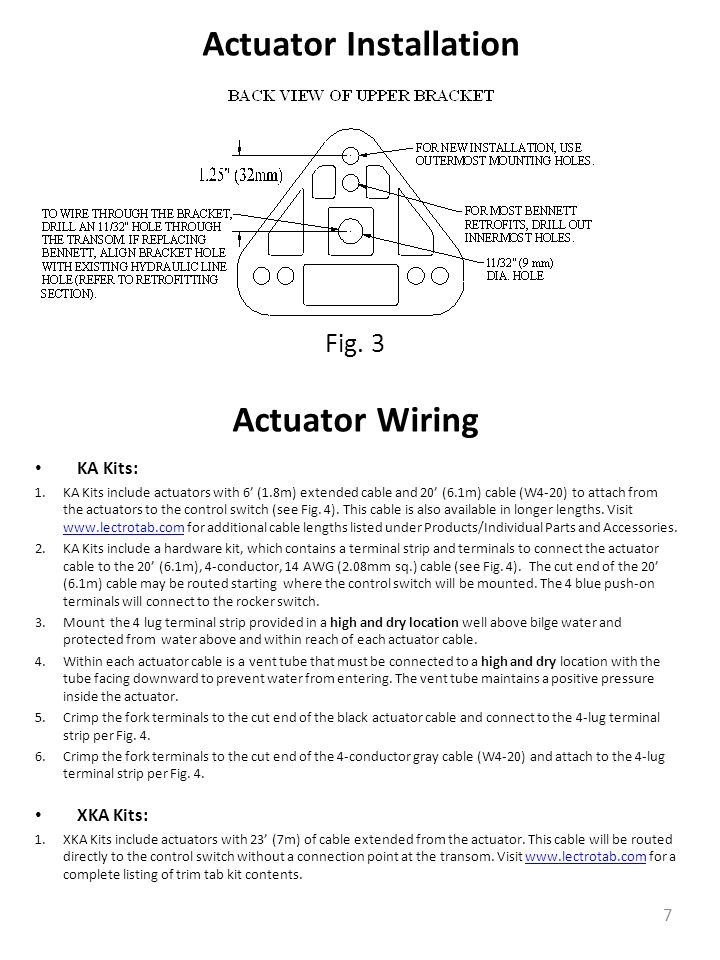 Actuator Wiring KA Kits: 1.KA Kits include actuators with 6' (1.8m) extended cable and 20' (6.1m) cable (W4-20) to attach from the actuators to the control switch (see Fig.