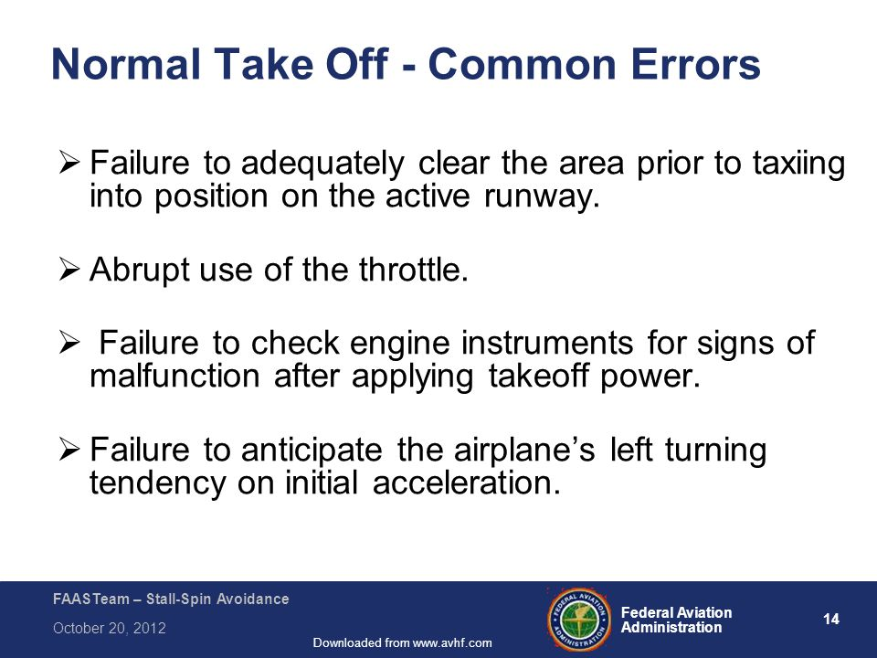 14 Federal Aviation Administration FAASTeam – Stall-Spin Avoidance October 20, 2012 Downloaded from www.avhf.com Normal Take Off - Common Errors  Failure to adequately clear the area prior to taxiing into position on the active runway.