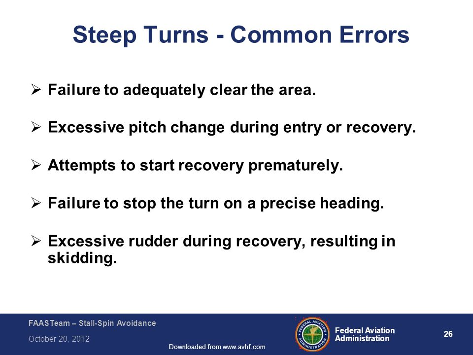 26 Federal Aviation Administration FAASTeam – Stall-Spin Avoidance October 20, 2012 Downloaded from www.avhf.com Steep Turns - Common Errors  Failure to adequately clear the area.