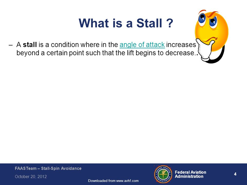 75 Federal Aviation Administration FAASTeam – Stall-Spin Avoidance October 20, 2012 Downloaded from www.avhf.com Module #6, Core Topic #12 Useful sources for more information: Advisory Circular – AC-61-67C Aircraft Weight and Balance Handbook – FAA-H-8083-1a Questions.