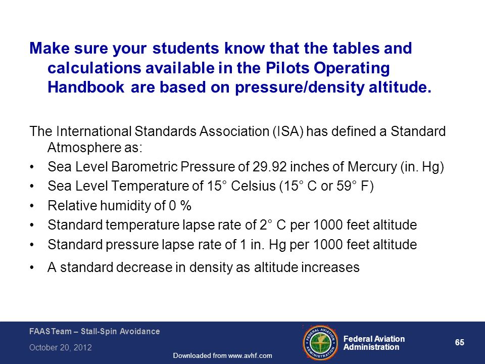 65 Federal Aviation Administration FAASTeam – Stall-Spin Avoidance October 20, 2012 Downloaded from www.avhf.com Make sure your students know that the tables and calculations available in the Pilots Operating Handbook are based on pressure/density altitude.