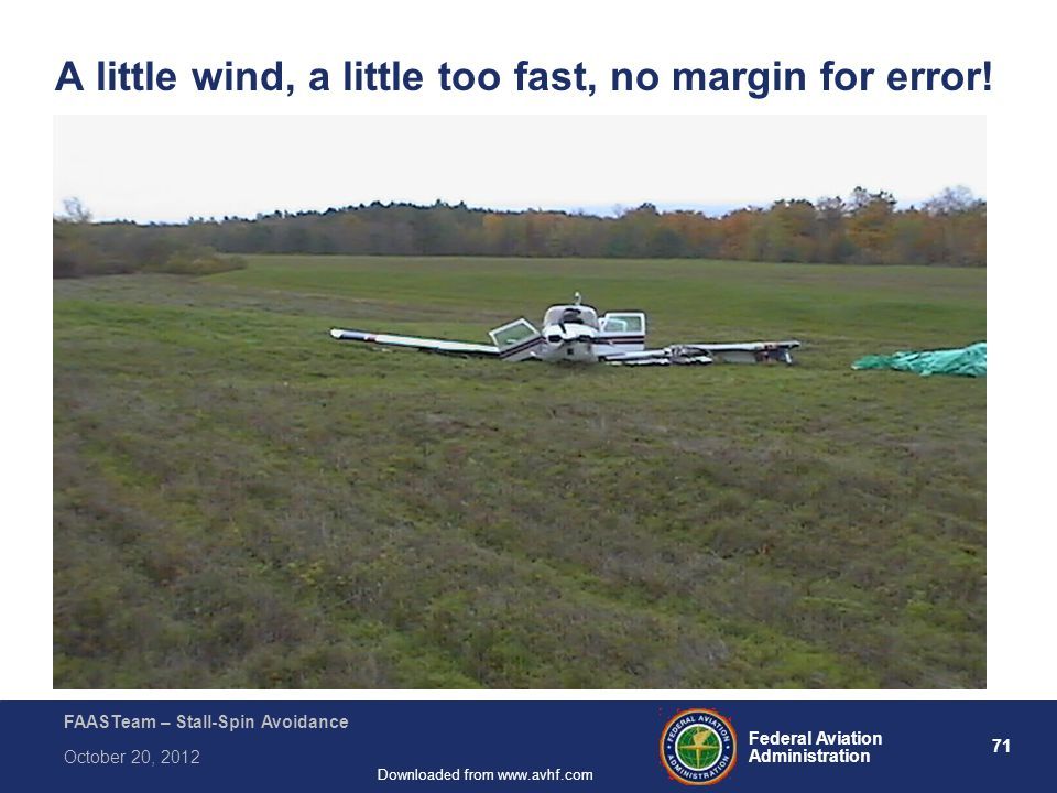71 Federal Aviation Administration FAASTeam – Stall-Spin Avoidance October 20, 2012 Downloaded from www.avhf.com A little wind, a little too fast, no margin for error!