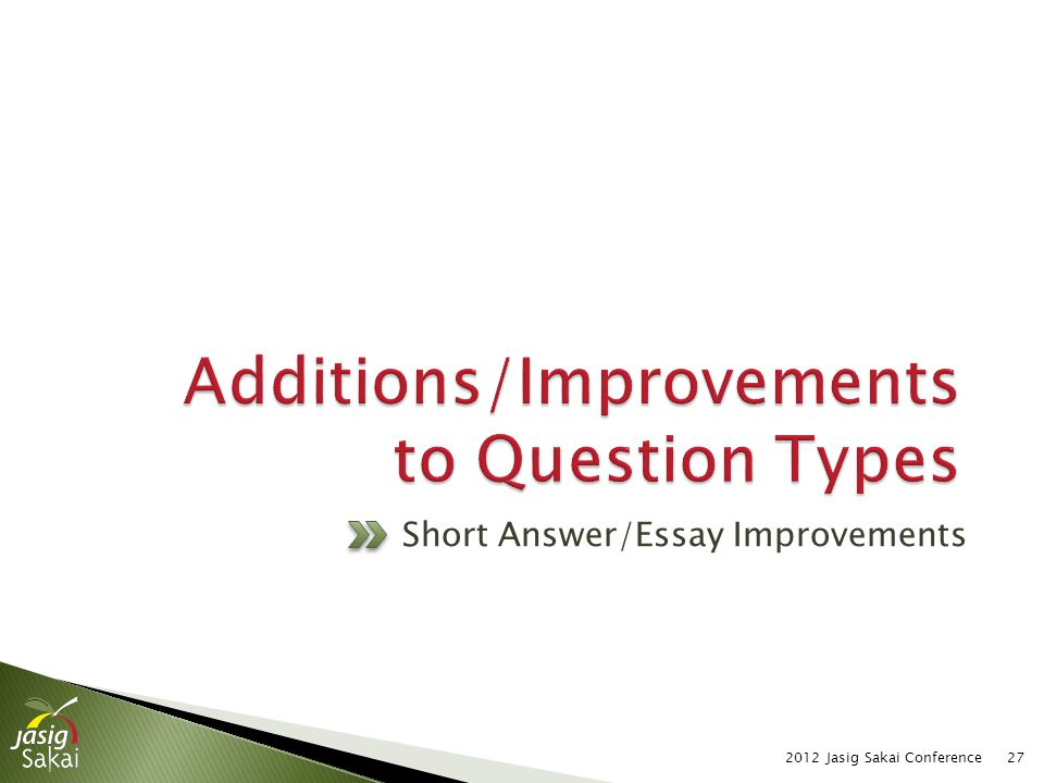 2012 Jasig Sakai Conference27 Short Answer/Essay Improvements