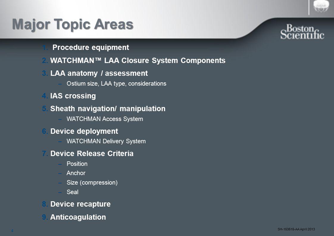 4 SH-153515-AA April 2013 Major Topic Areas 1. Procedure equipment 2.WATCHMAN™ LAA Closure System Components 3.LAA anatomy / assessment –Ostium size,
