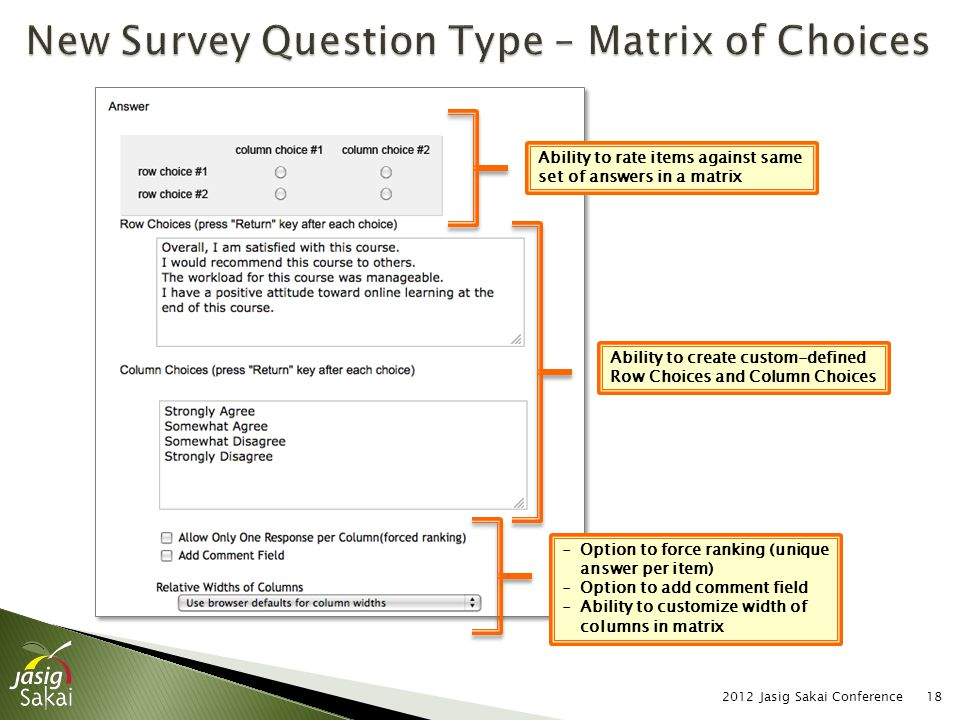2012 Jasig Sakai Conference18 Ability to create custom-defined Row Choices and Column Choices Ability to rate items against same set of answers in a m