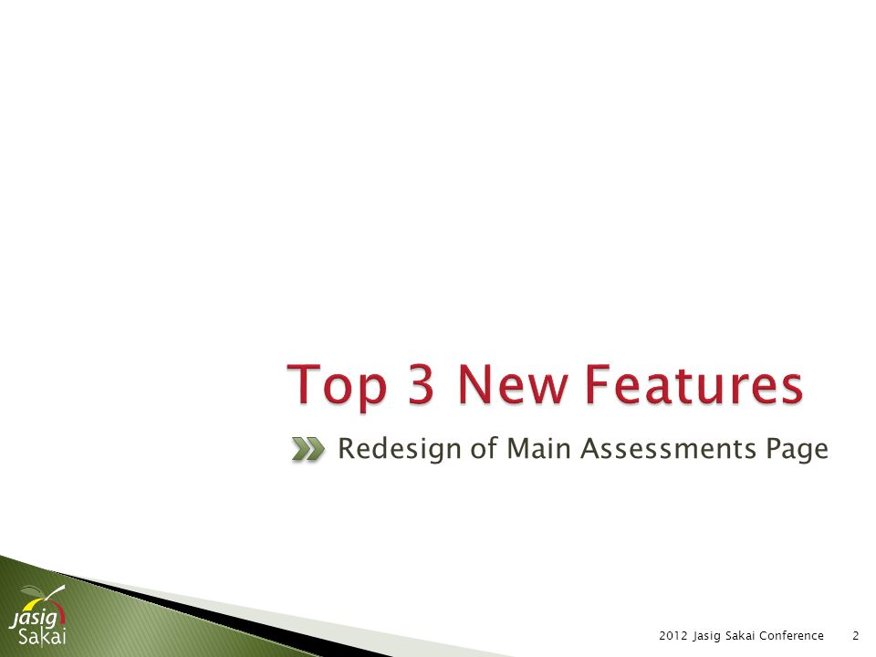 2012 Jasig Sakai Conference2 Redesign of Main Assessments Page
