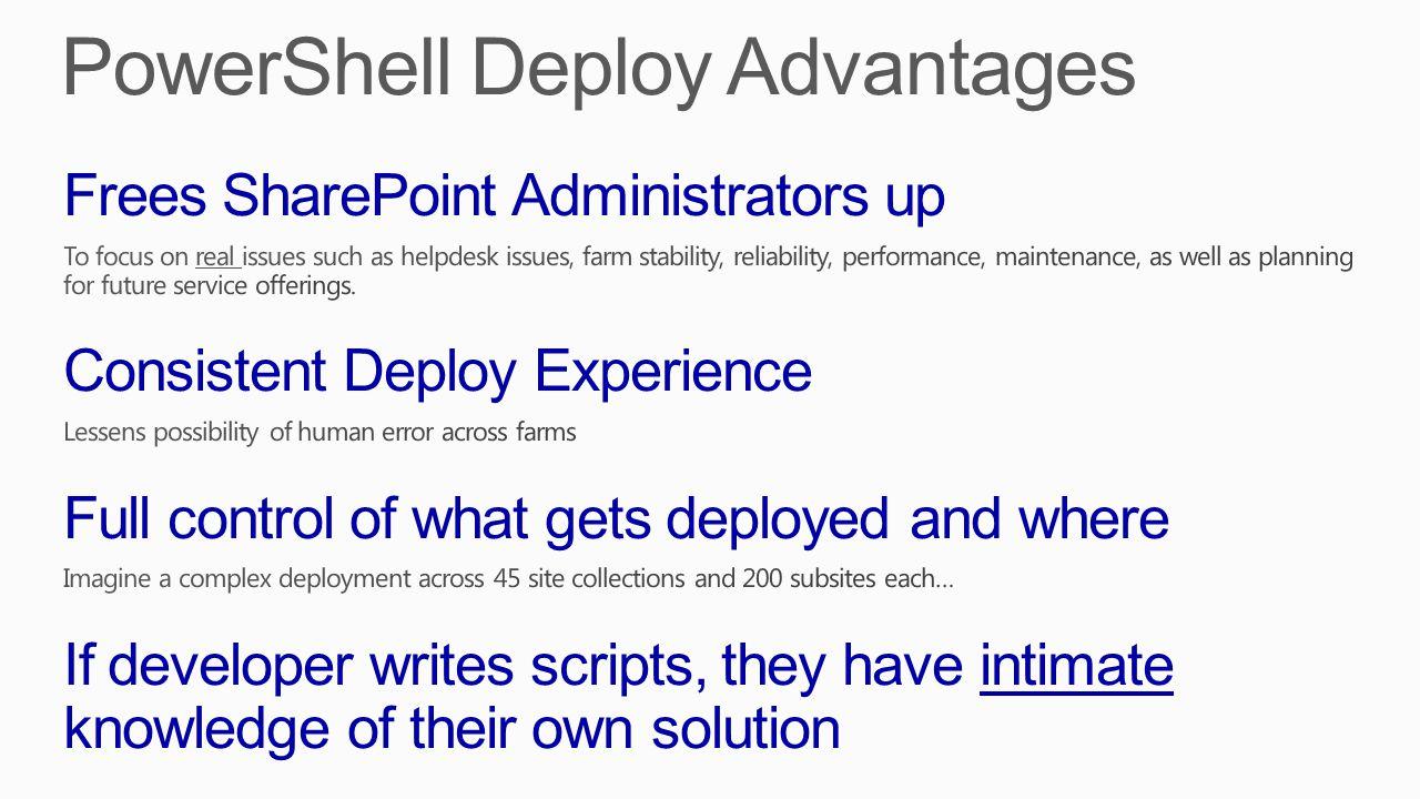 Deactivate features Uninstall features Retract the solution Uninstall the solution Install the solution Deploy the solution Install features Activate features